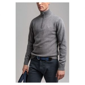 gant-grey-casual-cotton-half-zip-jumper