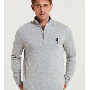 us-polo-assn-knit-classic-14-zip-grey