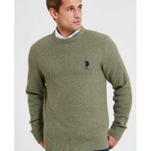 us-polo-cotton-waffle-crew-neck-jumper